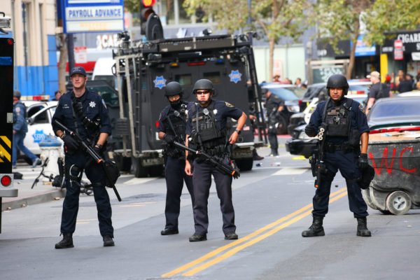 Police officers entered into a standoff with a man carrying a gun in downtown San Francisco in July.