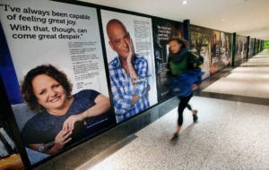 An art exhibit in Boston consists of large posters of nearly three dozen people, some ordinary, some famous, who have struggled with mental illness. Credit Michael Dwyer/Associated Press